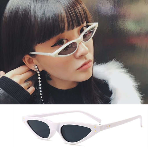 Vintage Narrow Cat Eye With Plastic Frame Sunglasses gallery 6