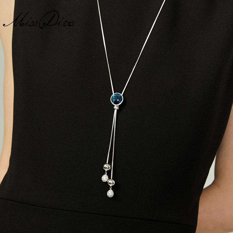 Blue Rhinestone and Sliver Beads Long Y Necklace - Silver