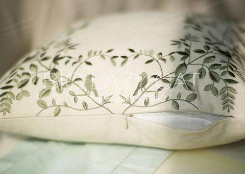 Leaves Embroidered Linen Pillow Cover gallery 8