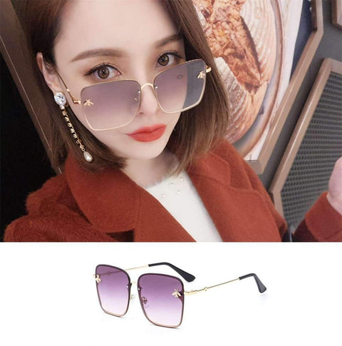Chic Square Shape With Butterfly Side Street Fashion Sunglasses gallery 4