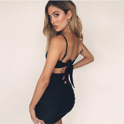 Strappy Back Tie Backless Ruched Mini Dress