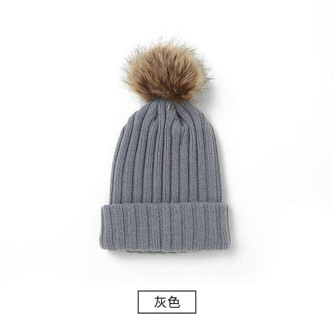 Women's Solid Color Furry Ball Double Layer Cozy Hat gallery 4