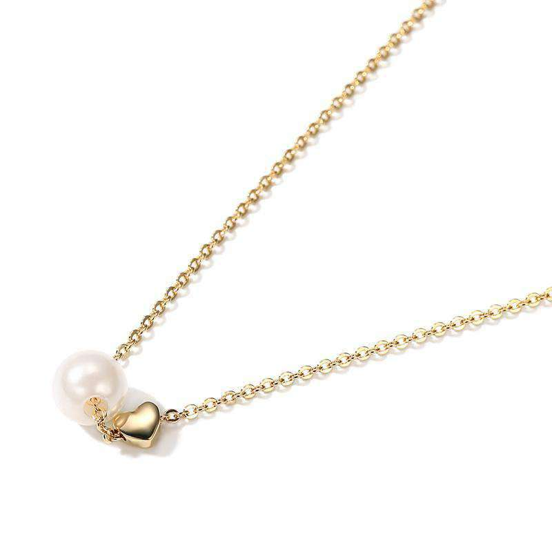 Textured Pearl & Heart Pendant Necklace