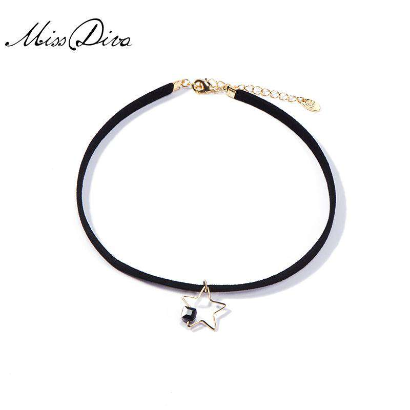 Simple Star Neck Black Choker