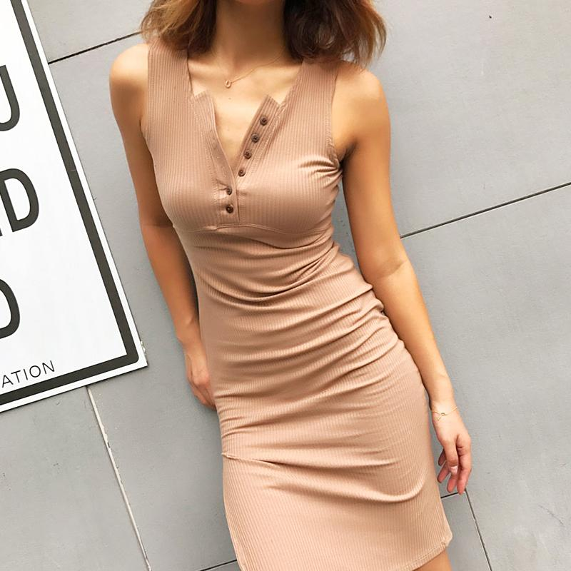 Form Fitting Botton Front Dress With Side Slit