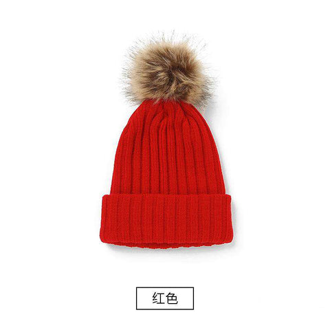 Women's Solid Color Furry Ball Double Layer Cozy Hat gallery 5