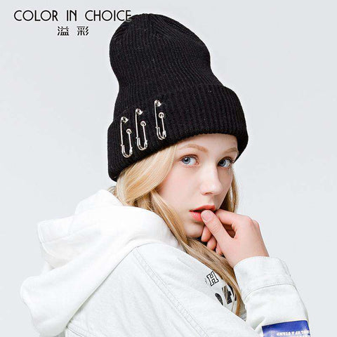 Solid-color Stitch Knit Beanie Hat with Safe Pin gallery 7