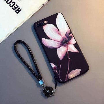 Embossed Lotus iPhone Case with hanging Rope
