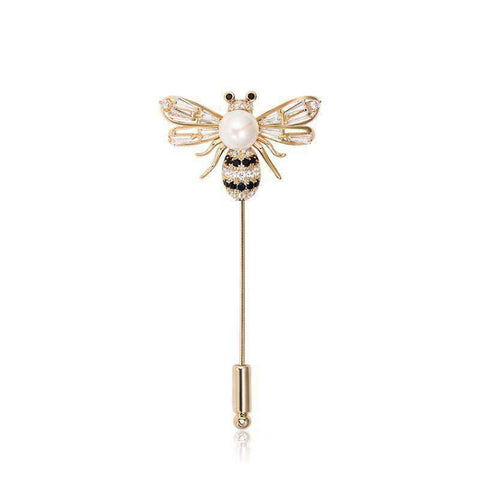 Crystal Bee with Faux Pearl Brooch gallery 1