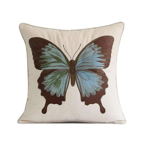 Regal Blue Butterfly Embroidered Pillow Cover gallery 1