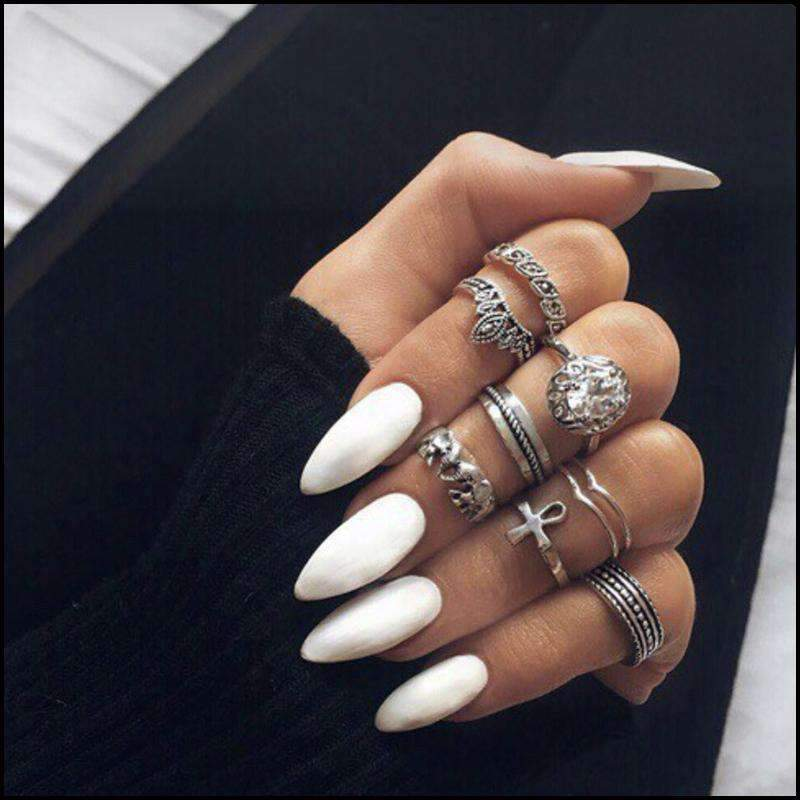Pointy White Magic Press Nail Manicure