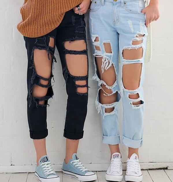 Skinny High Waist Knee Ripped Jeans