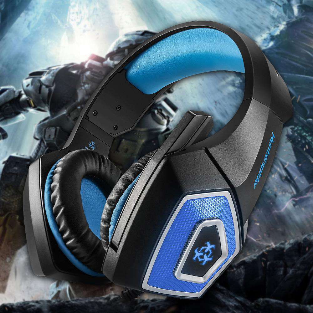 Hunterspider V-1 3 5mm Wired Gaming Headsets Over Ear Headphones Noise  Canceling Earphone with Microphone Colorful LED Light Blue for PC Laptop  PS4