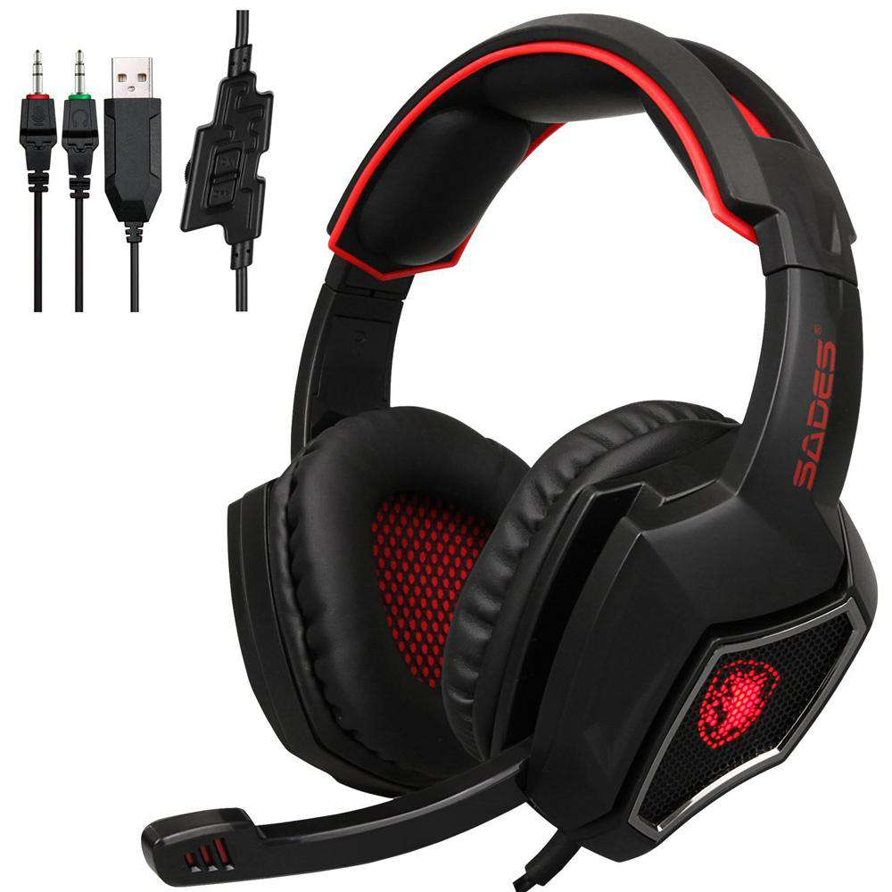 SADES R9 PC Gaming Headsets 3.5mm Wired Earphone Over Ear Game Headphone with Microphone LED Light Volume Control for PC