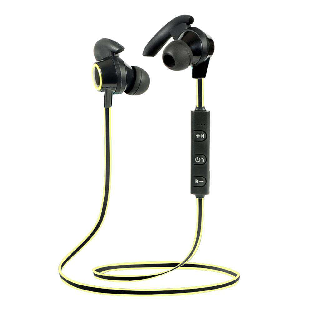 Wireless Bluetooth 4.2 + EDR Headphones Outdoor Sport Headsets In-ear Music Earphone Built-in Microphone Line Control Rechargeable Yellow