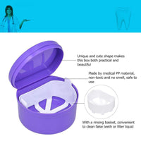 1Pc Denture Box Denture Case Dental False Teeth Cleaning Box Denture Bath Container Retainer Denture Holder
