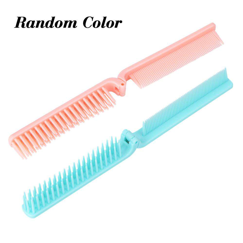 Pocket Folding Hair Brush Comb Portable Collapsible Travel Essentials Scalp Massage Plastic Hair Brush Random Color