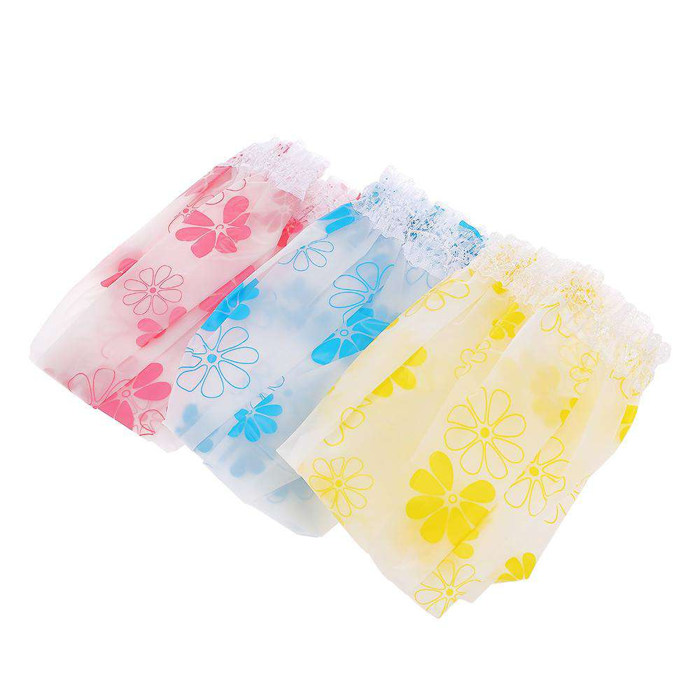 Waterproof Shower Cap Hair Hat Net Plastic Shower Cap Elastic Head Cover Hat for Showering Eyelash Eyebrow Tattooing