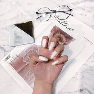 White Pointy Almond Magic Press Nail Manicure