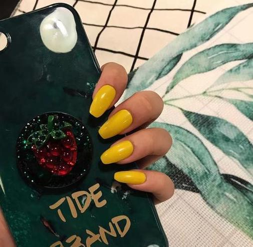 Tropical Passion Yellow Magic Press Nail Manicure