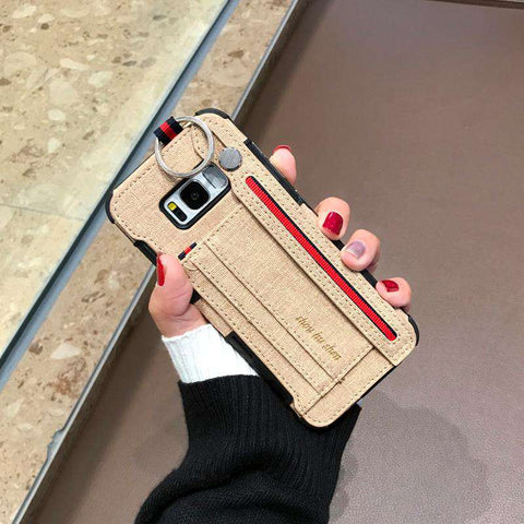 Luxury Lint Phone Case for Samsung with Wrist Strap