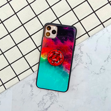 Multicolor Cloud With Rhinestone Ring Stand iPhone Phone Case