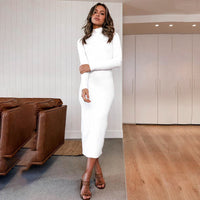 Solid Color Turtleneck Ribbed High Waisted Slim Midi Dress