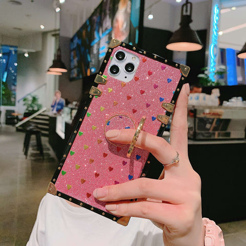 Glittering Little Heart Rivet Deco Square Phone Case for Samsung with Phone Holder gallery 1