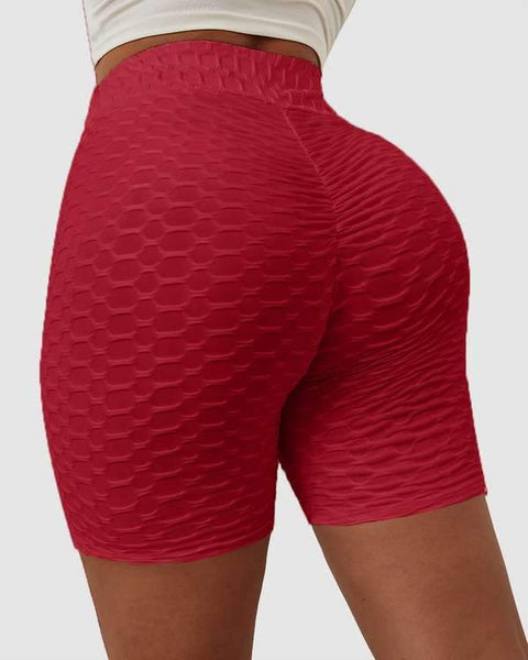 Solid Textured Hip Lifting Shorts gallery 6
