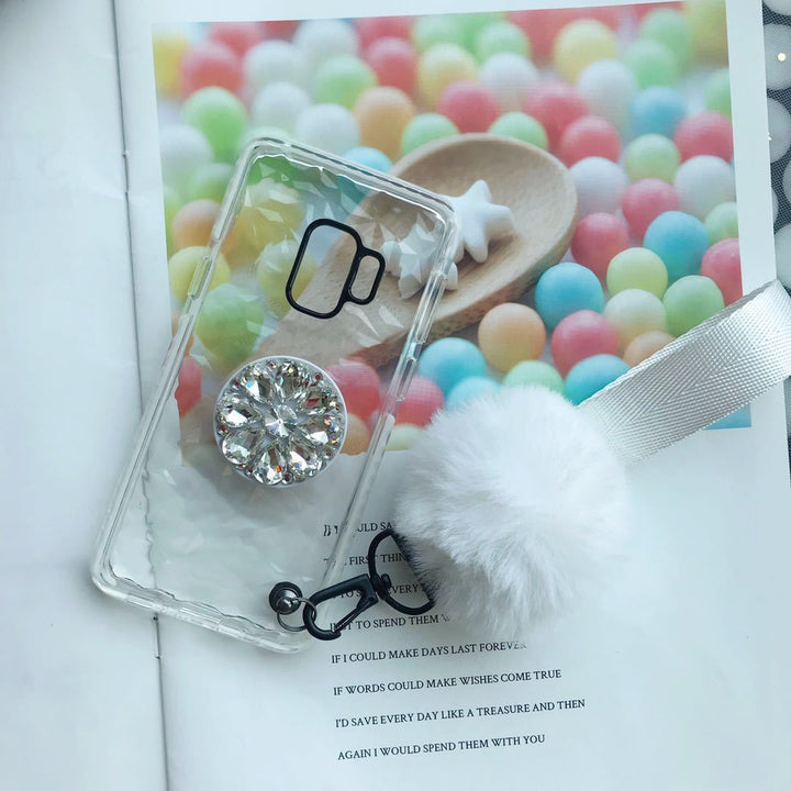 Diamond-shaped Phone Case for Samsung with Phone Holder and Pom-pom gallery 4