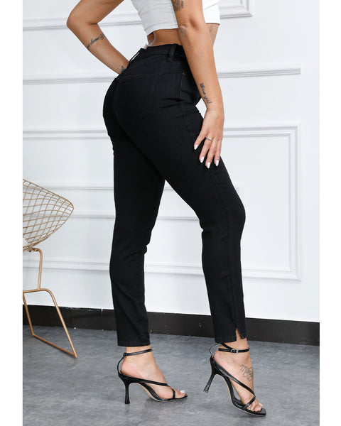 Split Hem Butt Lifting Skinny Jeans