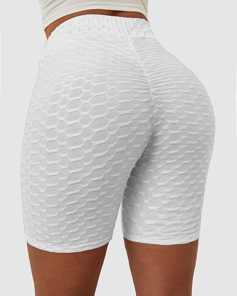Solid Textured Hip Lifting Shorts gallery 1