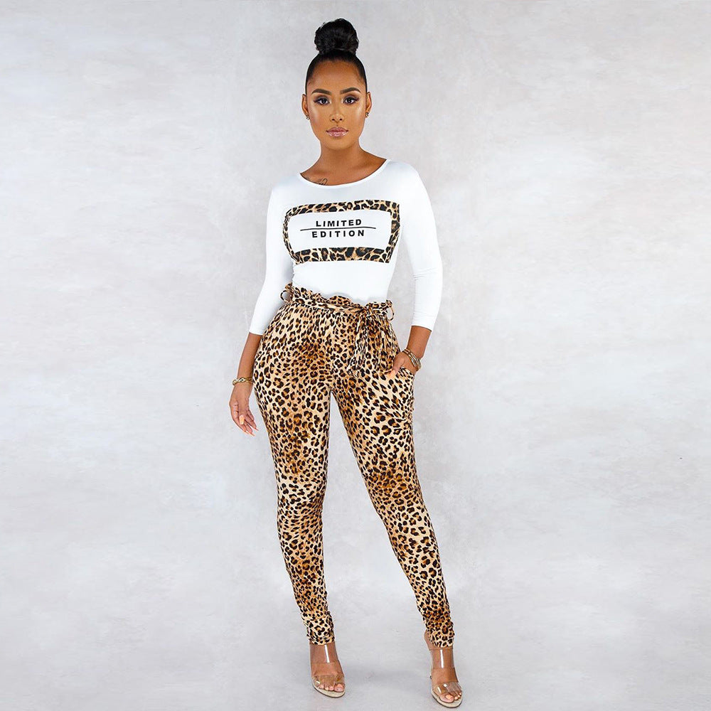 Leopard Print Round Neck High Waist Top & Pant Set