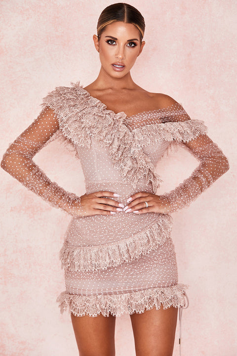 One Shoulder Polka Dot Lace Detail Mesh Ruched Dress gallery 8