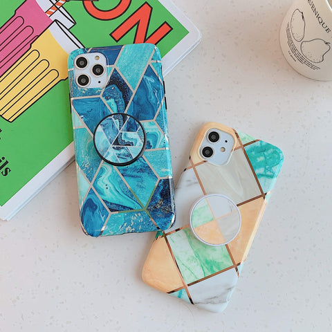 Rhombus Stitching Marble Phone Case for Samsung with Phone Holder gallery 5
