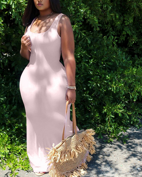 Solid Color Sleeveless Maxi Dress gallery 3