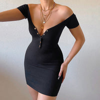 Ribbed Button Detail Off Shoulder Cap Sleeve Mini Dress