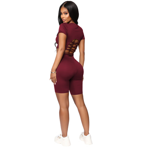 Round Neck Lace-Up Back High Waist Cropped Top & Short Set gallery 3