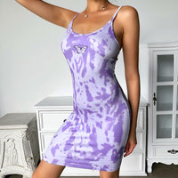 Tie Dye Butterfly Print Ribbed Scoop Neck Mini Dress