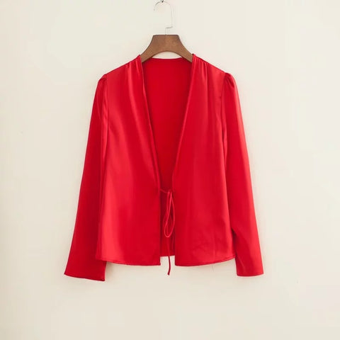 Satin Tie Front Long Sleeves Loose Cape Shirt gallery 7