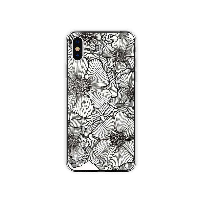 Simple Hand-drawn Line Flowers Phone Case For All iPhone