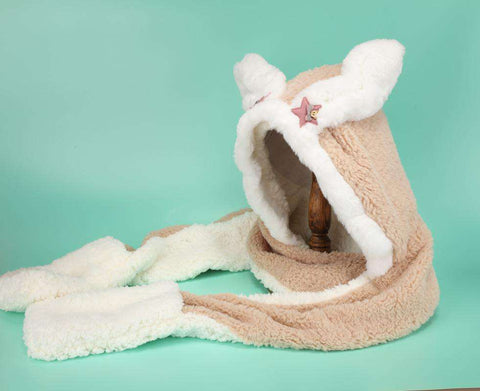 Women's Winter Rabbit Ear Fluffy Hat, Scarf, and Gloves Come in Three Pieces gallery 6