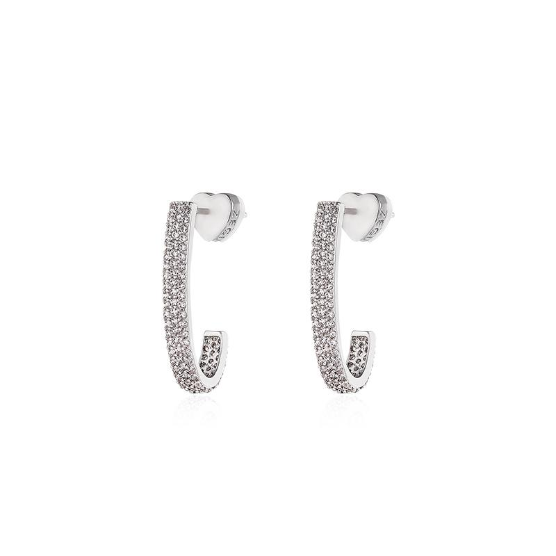 Hook Shape Glitter Ear Stud