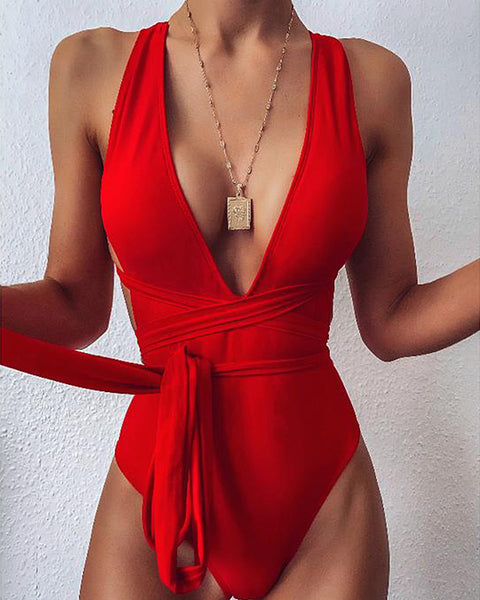 Knot Waist Plunging One Piece Swimsuit