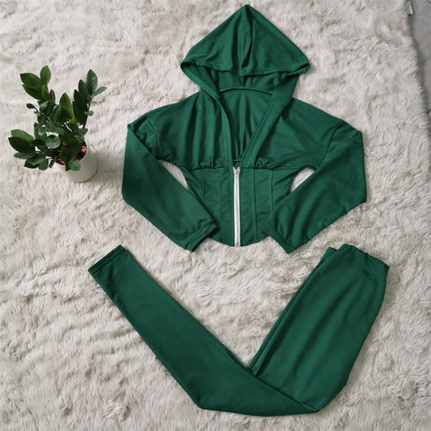 Corset Plunge Zippered Front Hooded Top & Pants Set gallery 11