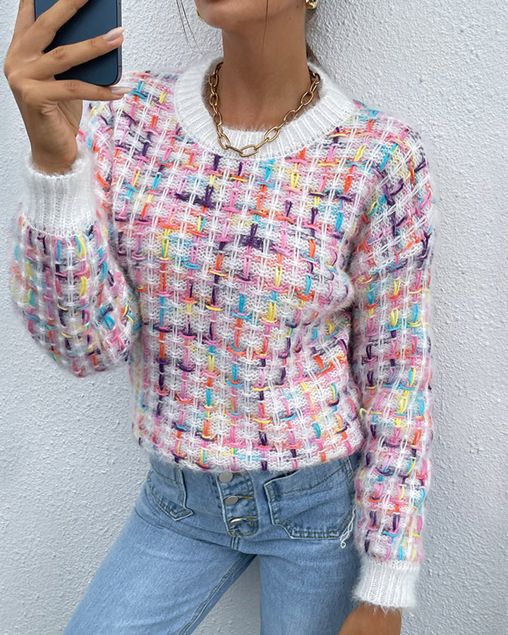 Fluffy Knit Round Neck Sweater gallery 1