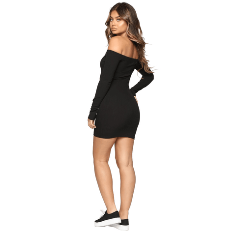 Shape Off Shoulder Ribbed Knitted Bodycon Dress gallery 9