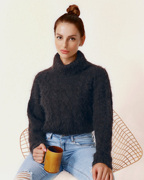 Fluffy Knit Turtleneck Sweater