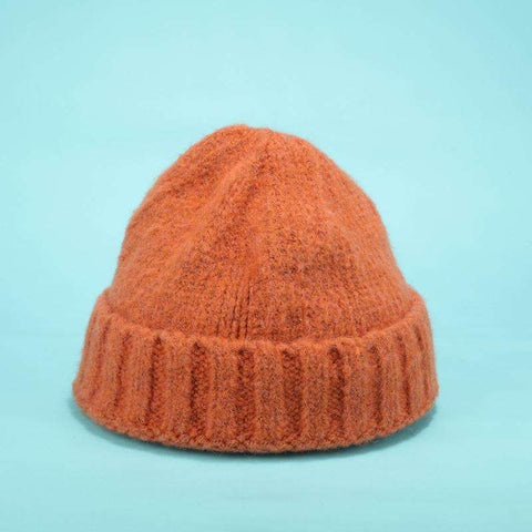 Solid-color Stitch Knit Beanie Hat gallery 3