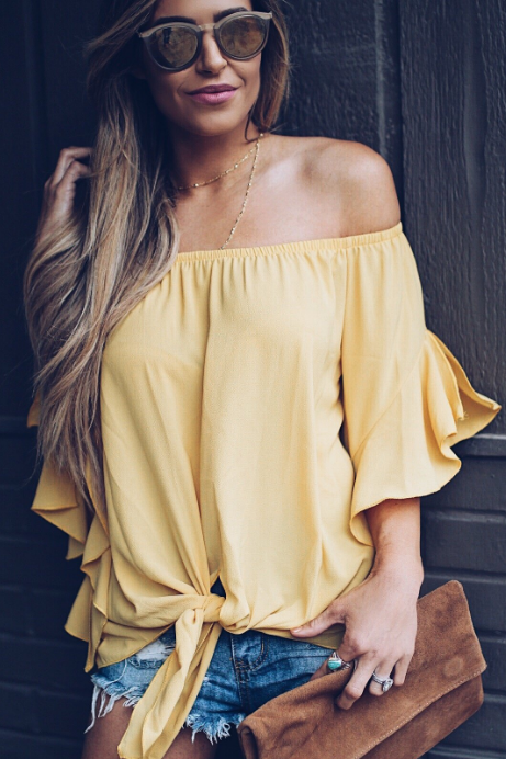 Yellow Off The Shoulder Knot Front Top gallery 1